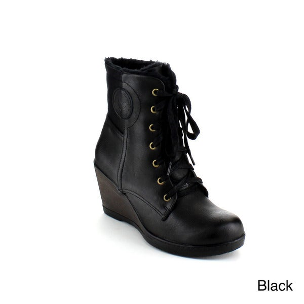 Reneeze Joyce-02 Women's Lace Up Gothic Wedge Ankle Boots - Free ...