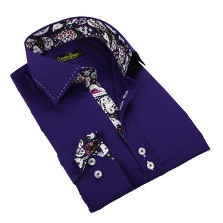 Banana Lemon Men's Purple Patterned Button-down Shirt