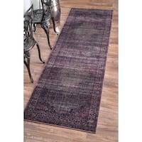 nuLOOM Oriental Vintage Viscose Persian Amethyst Runner Rug (2'7 x 8')