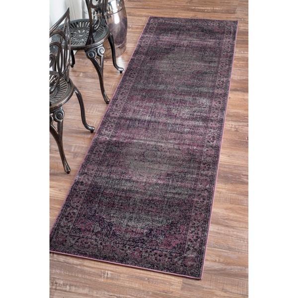 nuloom oriental vintage viscose persian amethyst runner rug (2'7 x