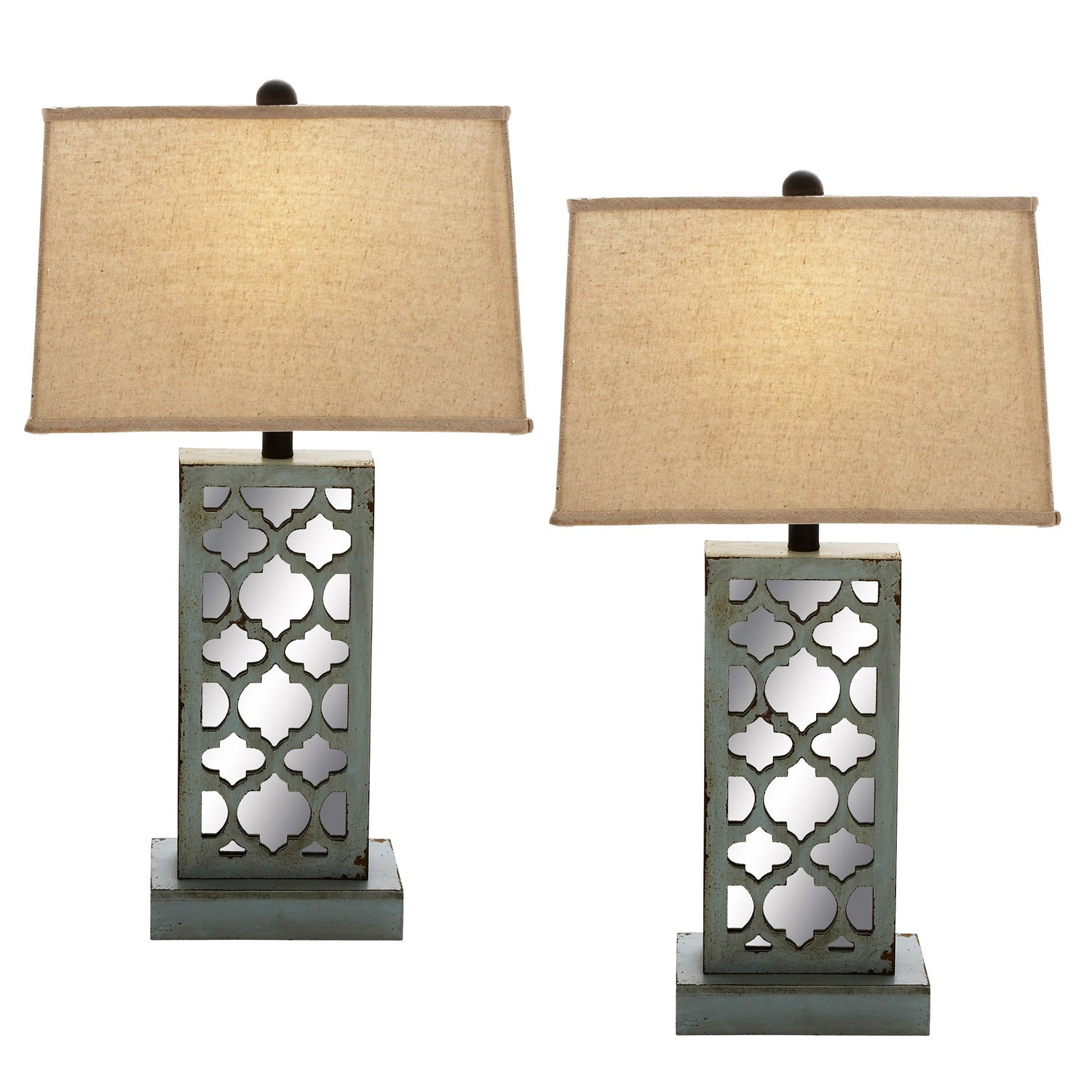 Casa Cortes Heavily Distressed Wood Table Lamp Set Of 2