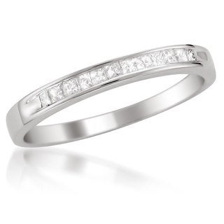 Montebello Platinum 1/ 4ct TDW White Diamond Channel-set Wedding Band