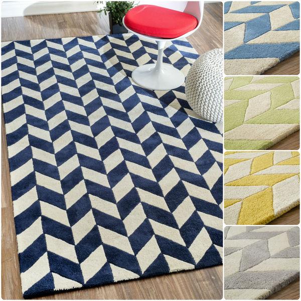Chevron Denim Wool Rug: Shop NuLOOM Hand-tufted Chevron Wool Geometric Fancy Rug