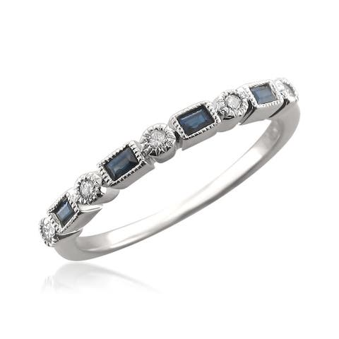 Montebello 14KT Gold 1/10ct TDW Diamond and Blue Sapphire Band