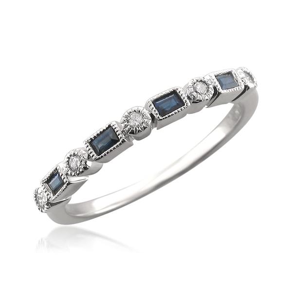 Montebello 14k White Gold 1/10ct TDW Diamond and Blue Sapphire Wedding Band