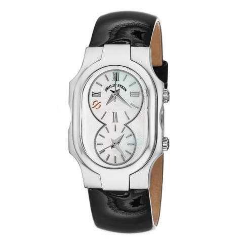 Philip Stein Women's 1-CMOP-LB Dual Timezone Mother of Pearl Dial Watch