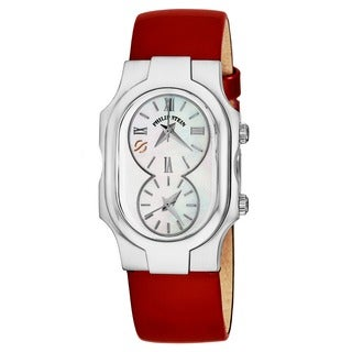 Philip Stein Women's 1-CMOP-LR 'Signature' Mother of Pearl Dial Red Leather Strap Quartz Watch