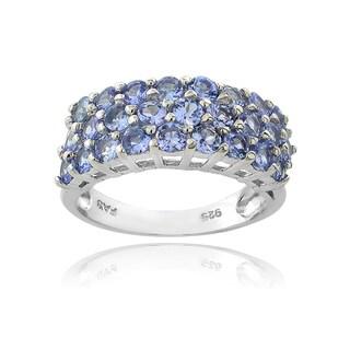 Glitzy Rocks Sterling Silver 3-tier Tanzanite Eternity Ring