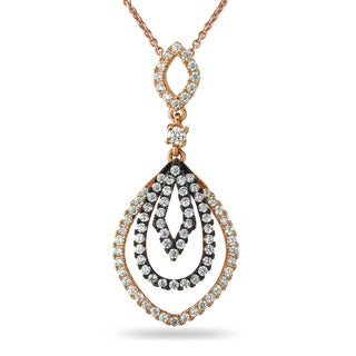 ICZ Stonez Rose Gold and Black Over Silver Cubic Zirconia Necklace