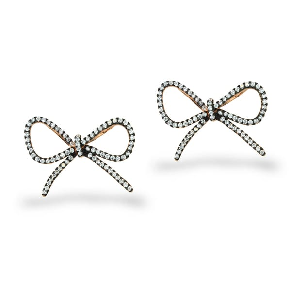 ICZ Stonez Rose Gold and Black Over Silver Cubic Zirconia Bow Earrings