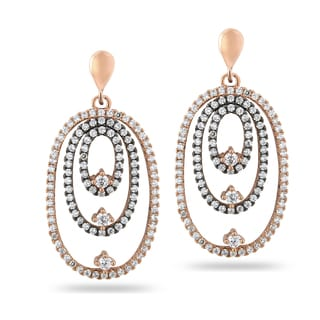 ICZ Stonez Rose Gold and Black Over Silver Cubic Zirconia Earrings