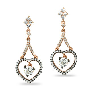 ICZ Stonez Rose Gold And Black Over Silver Cubic Zirconia Heart Earrings
