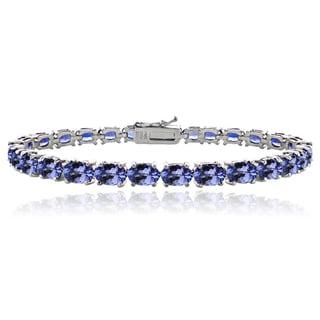 Link to Glitzy Rocks Sterling Silver 16ct Oval Blue Tanzanite Tennis Bracelet Similar Items in Bracelets