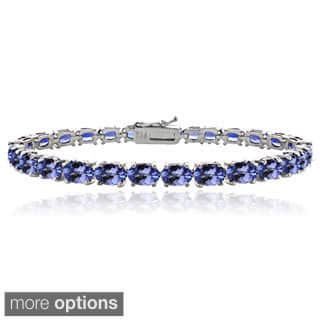 Glitzy Rocks Sterling Silver 16ct Oval Blue Tanzanite Tennis Bracelet|https://ak1.ostkcdn.com/images/products/9595604/P16778504.jpg?impolicy=medium