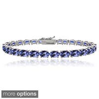 Glitzy Rocks Sterling Silver 16ct Oval Blue Tanzanite Tennis Bracelet