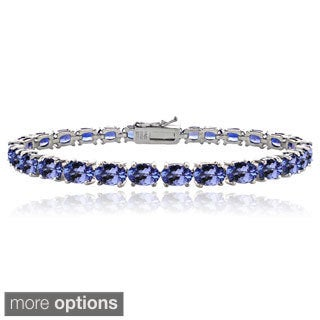 Glitzy Rocks Sterling Silver 16ct Oval Blue Tanzanite Tennis Bracelet