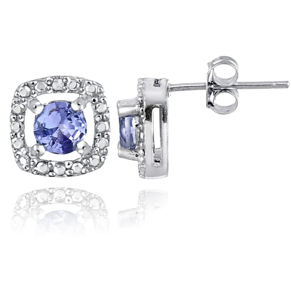Glitzy Rocks Sterling Silver Tanzanite and Diamond Accent Stud Earrings