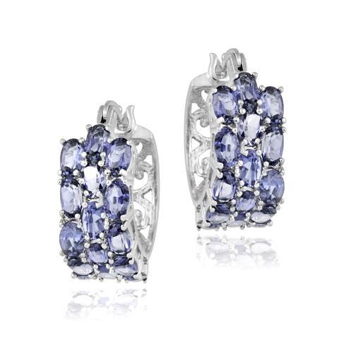 Glitzy Rocks Sterling Silver Tanzanite 3-tier Hoop Earrings