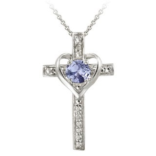 Glitzy Rocks Sterling Silver Tanzanite And Diamond Accent Heart Cross Necklace
