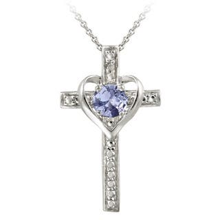 Tanzanite cross necklaces for less overstock glitzy rocks sterling silver tanzanite and diamond accent heart cross necklace aloadofball Choice Image