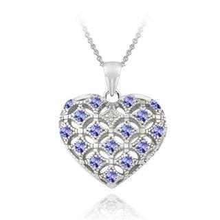 Glitzy Rocks Sterling Silver Tanzanite and Diamond Accent Puffed Heart Locket Necklace