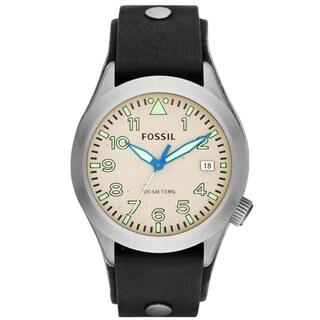 Fossil Men's AM4552 Aeroflite Leather Black Strap Watch