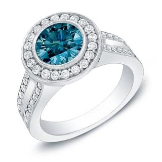Auriya 14k Gold 2ct TDW Contemporary Blue Diamond Ring (I1-I2)