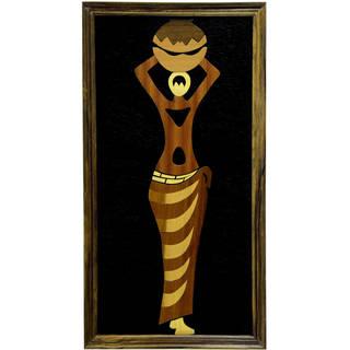 Handmade Wood Overlay Woman of Hope Wall Art (Ghana)