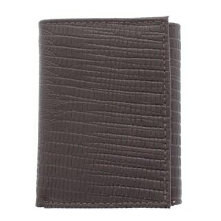 YL Men's Lizard Embossed Grain Bonded Leather Tri-fold Wallet