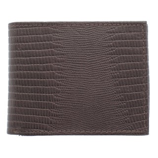 YL Men's Lizard Embossed Bonded Leather Bi-fold Wallet