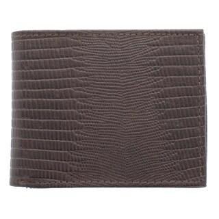 YL Men's Lizard Embossed Bonded Leather Bi-fold Wallet