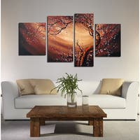 Large Canvas Painting-'Floral Whirlwind' 4-piece - Multi-color