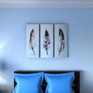Feathers' 3-piece Hand-painted Oil on Canvas Art Abstract Oil Painting