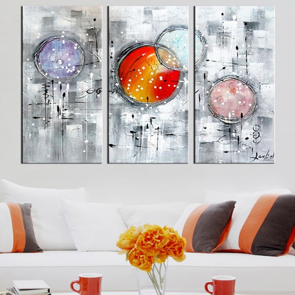 Burst Your Bubble' 3-piece Hand-painted Textured Oil on Canvas Art-Textured Oil Painting-