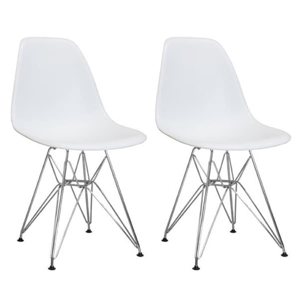 Mod Made Mid Century Modern Paris Tower Dining Side Chair with Wire Chrome Legs (Set of 2)
