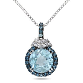Miadora Sterling Silver Blue Topaz and Diamond Accent Necklace