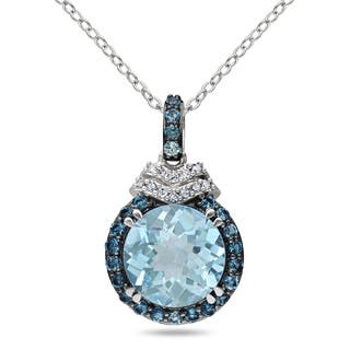 Miadora Sterling Silver Blue Topaz and Diamond Accent Necklace|https://ak1.ostkcdn.com/images/products/9596375/P16781581.jpg?impolicy=medium
