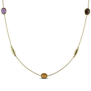 Miadora 18k Yellow Gold Amethyst, Citrine, Topaz, Quartz, and Peridot Necklace