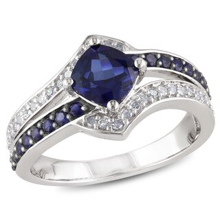 Miadora Silver Created Blue Sapphire and 1/6ct TDW Diamond Ring (H-I, I2-I3)