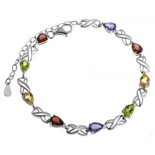 De Buman Sterling Silver Natural Garnet, Peridot, Amethyst or Multi-colored Gemstones Bracelet
