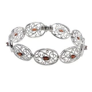 De Buman Sterling Silver Natural Amethyst, Garnet or Multi-colored Gemstones Bracelet