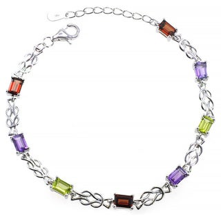 De Buman Sterling Silver Natural Garnet, Peridot or Multi-colored Gemstones Bracelet