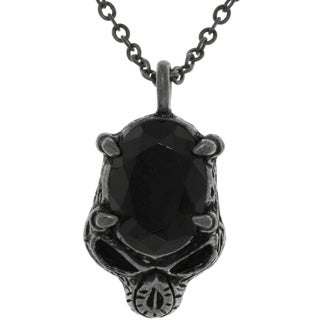 Carolina Glamour Collection Pewter Black Crystal Skull Necklace
