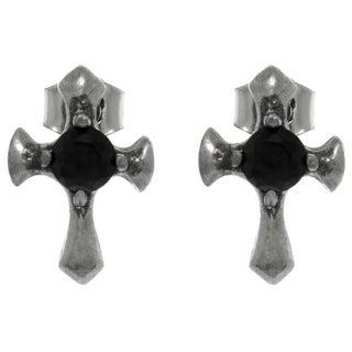 Pewter Black Crystal Cross Stud Earrings