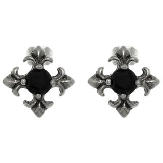 Carolina Glamour Collection Pewter Black Crystal Fleur de Lis Cross Stud Earrings