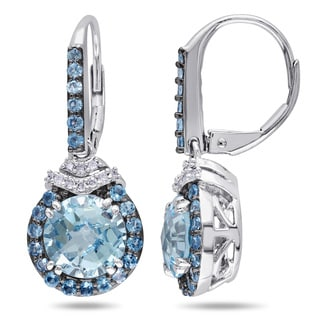 Miadora Sterling Silver Blue Topaz and 1/10ct Diamond Dangle Earrings (H-I, I2-I3)