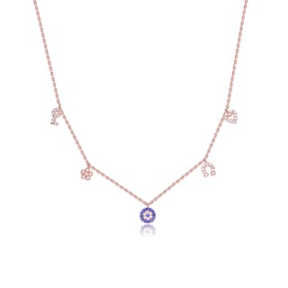Collette Z Rose Goldplated Sterling Silver Blue and White Cubic Zirconia Multi Shape Station Necklace