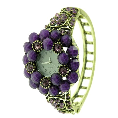 Women's Vintage Antique Gold Hinged Bangle Watch with Purple Faceted Stones and Lavendar Crystals