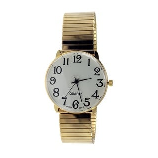 Men's Gold Stretch Band Watch with Easy Read Black Arabic Numbers on a White Dial