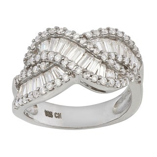 Gioelli Sterling Silver Cubic Zirconia Curved X Ring